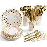 175 Piece Gold Party Supplies Set - Disposable Paper Dinnerware Serves 25 - Gold Dot Paper Plates Napkins Cups with Gold Plas