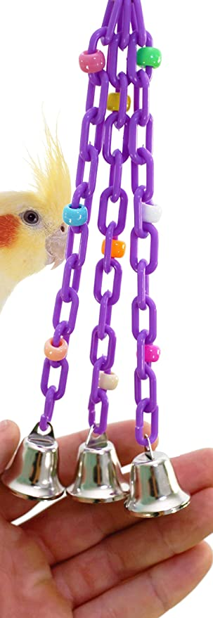 Bonka Bird Toys 1166 Trio Bell Bird Toy Parrot Cage Toys Cages Budgie Parakeet Parrotlet Lovebird. Quality Product Hand Made In The USA