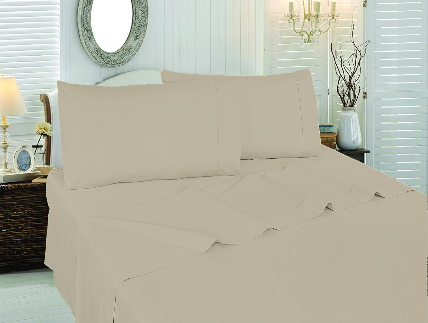 4 Piece Bed Sheet Set Queen, Beige