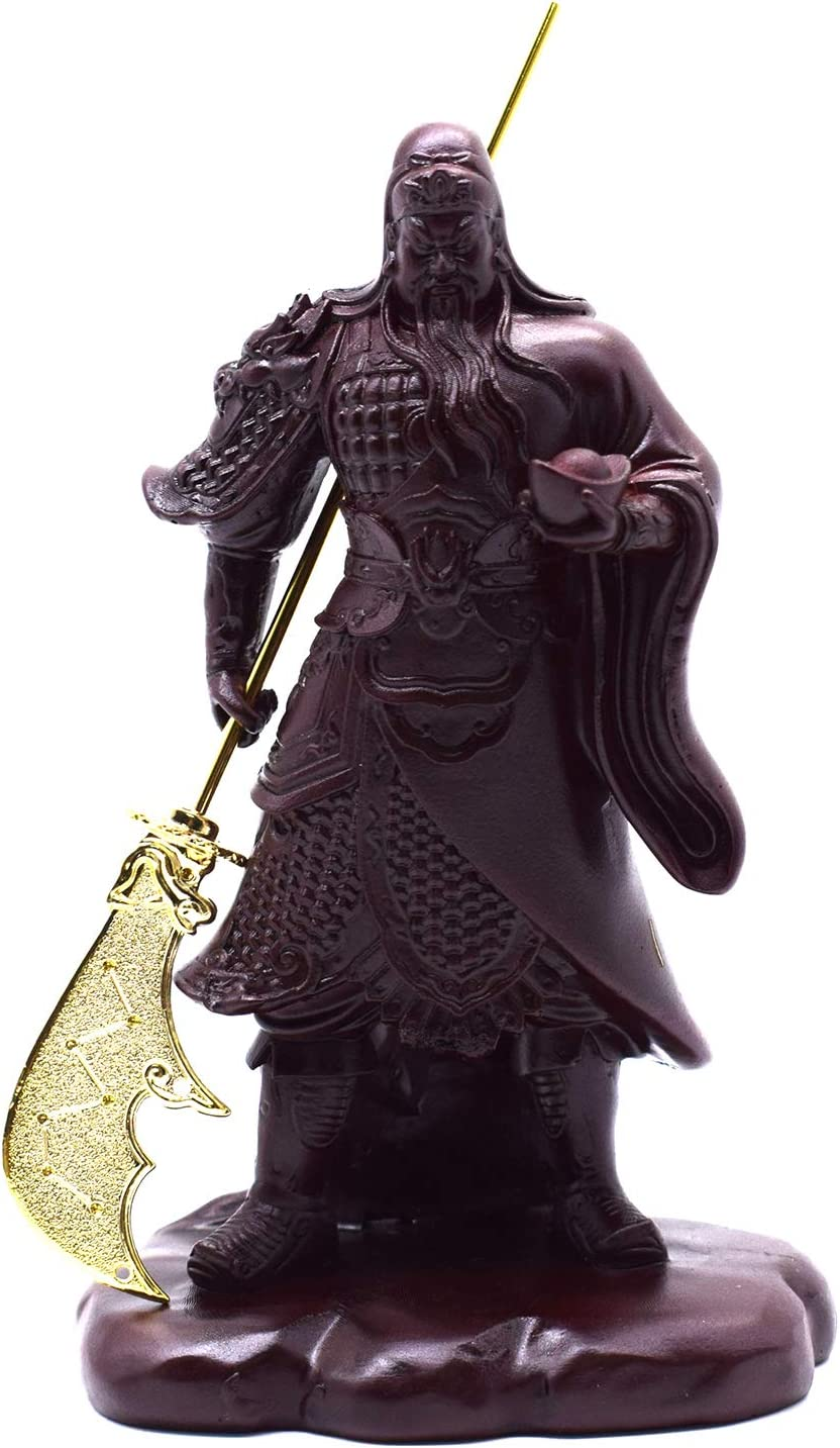 FUNSXBUG Chinese Feng Shui Guan Yu Statue/Guan Gong Statue/Guan Di Statue/Guan Yun Chang Statue Figurines Feng Shui Decor Home Office Decoration Tabletop Decor Good Lucky Gifts (Color 1)