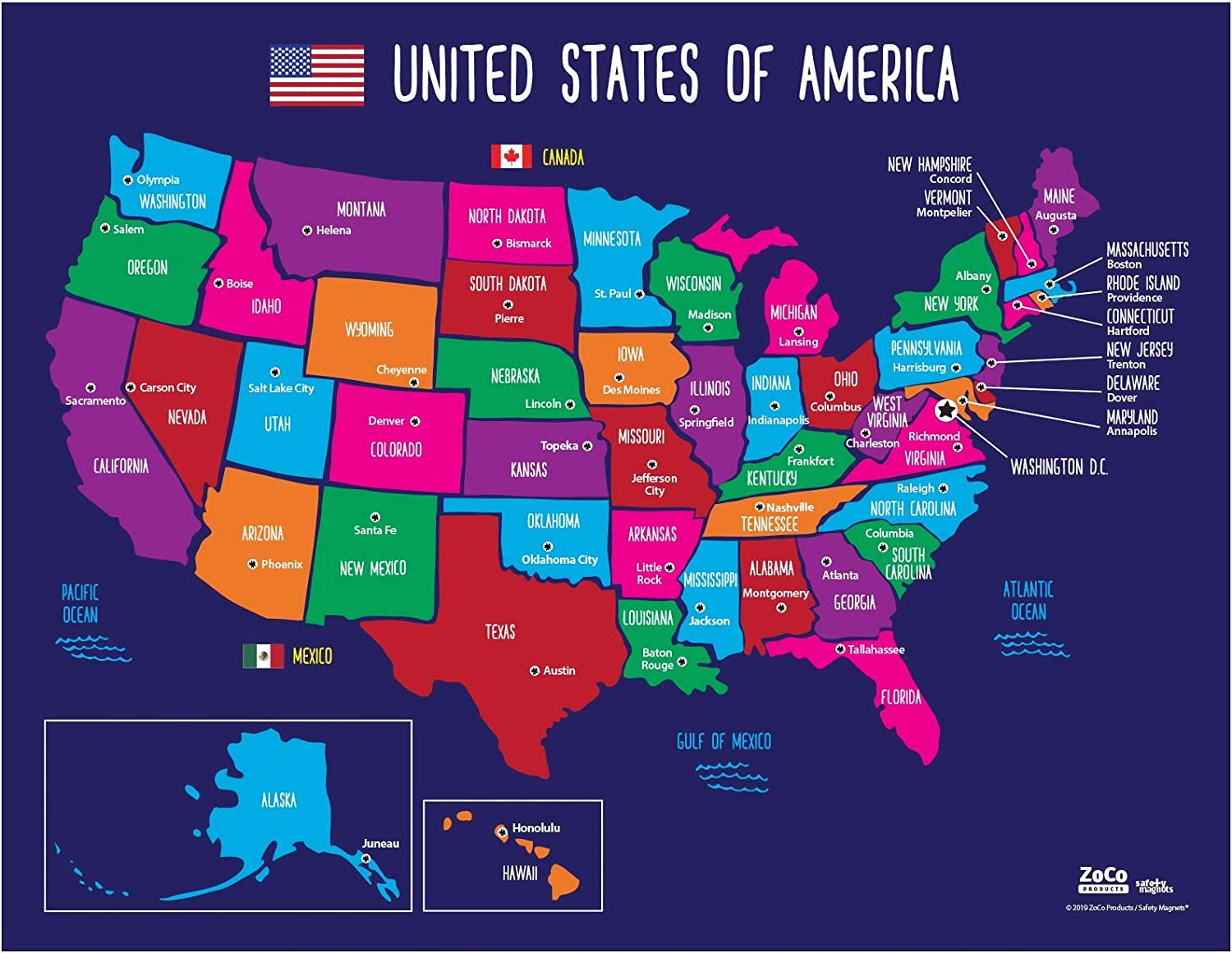 Picture Of The United States Of America Map Map of USA States and Capitals   Colorful US Map with Capitals
