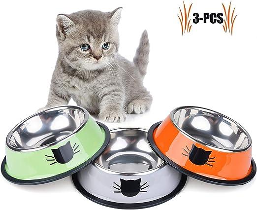 Cuenco de Comida para Gatos, 3 Piezas de Acero Inoxidable ...
