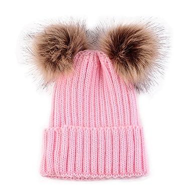 HMILYDYK Fashion Winter Knitted Beanie Bobble Hats Stylish Double Faux Fur  Pom Poms Warm Ski Beret 44b607abd1e8