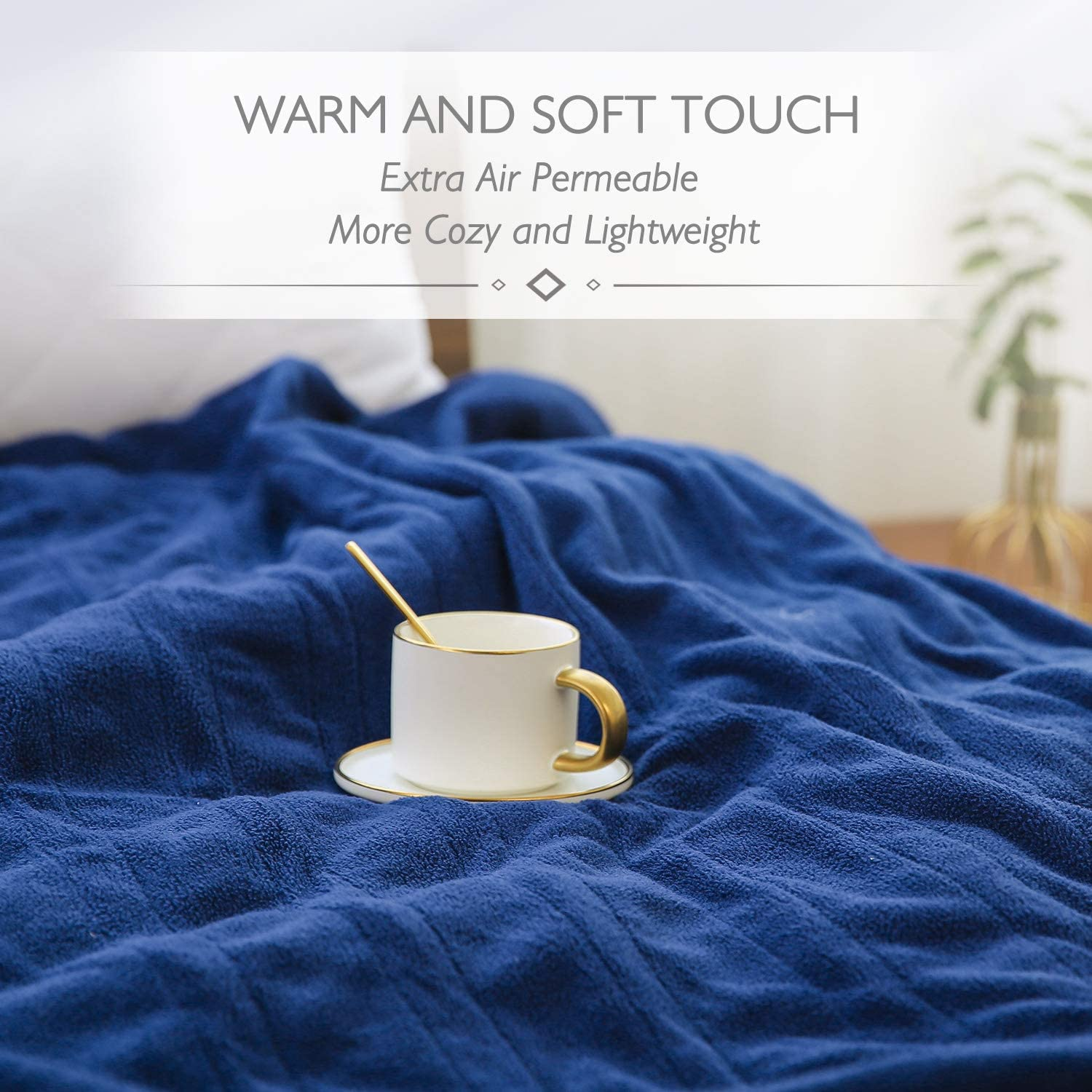"""Electric Blanket Heated Throw 50"""" x 60"""" Lightweight Cozy Soft Fleece, 4 Temperature Settings Fast-Heating with 3 Hours Auto Off, ETL Certified, Full Body Warming, Machine Washable, Home Office Use: Kitchen & Dining"""