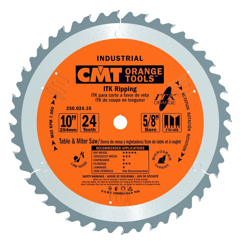 CMT 250.024.10 ITK Industrial Rip Saw Blade, 10-Inch x 24 Teeth 1FTG+2ATB Grind with 5/8-Inch Bore by CMT