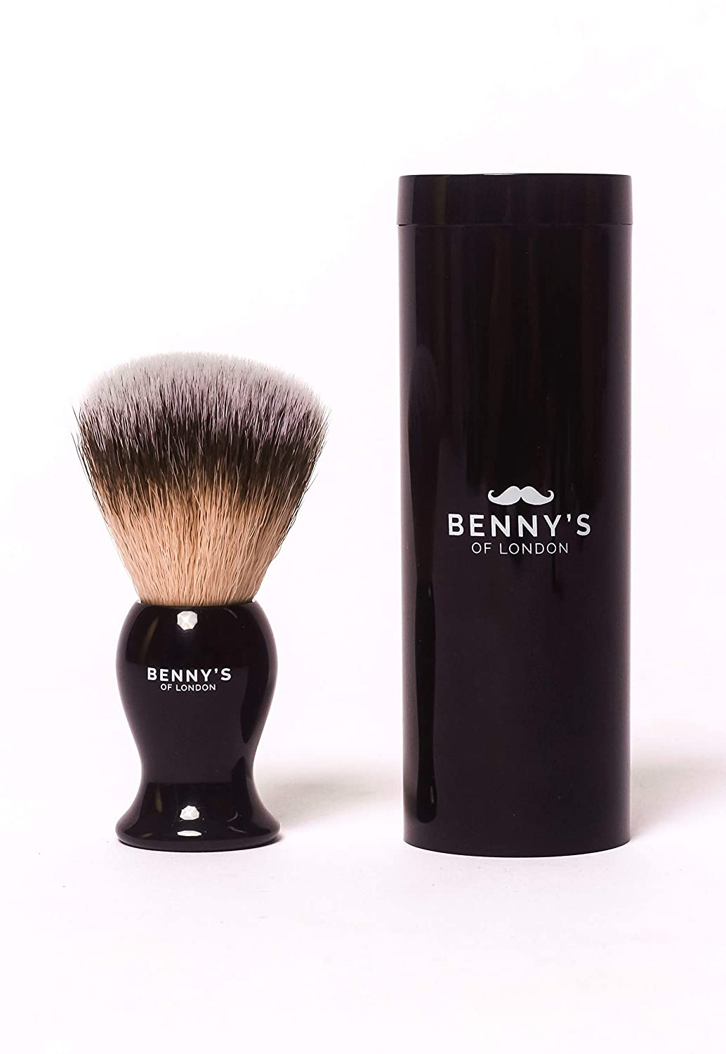 Mini Travel Shaving Brush with Travel CASE - Benny's of London - Men's Gift Idea - Luxury Travel Shave Brush - with Hard Travel Case - Must Have Present for Men's Grooming Set JDK