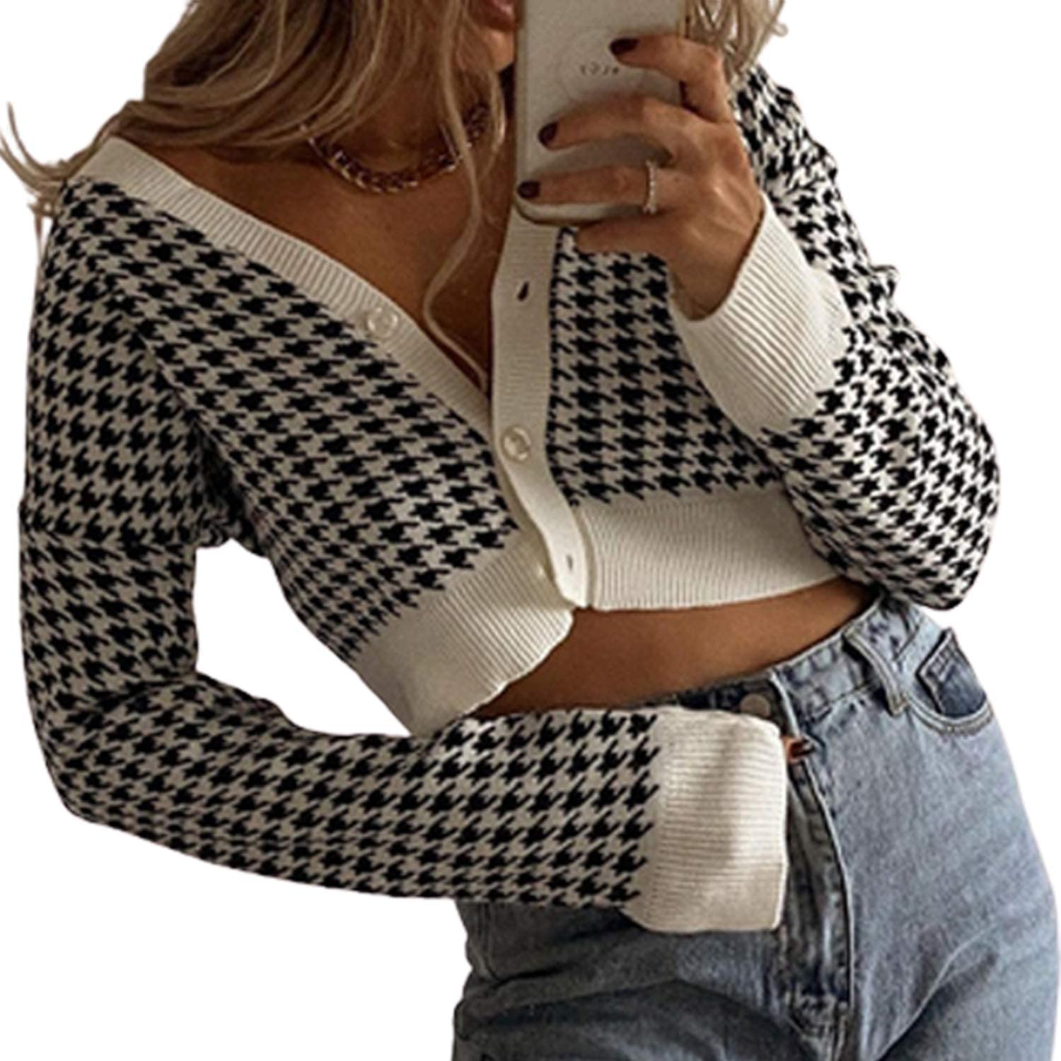 Womens Ruffle PU Shirt Houndstooth Blouse Jumpers Dogstooth Pullover Ladies Tops