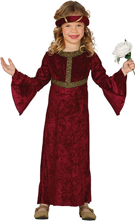 Guirca - Disfraz medieval con vestido y diadema, para niños de 7-9 ...