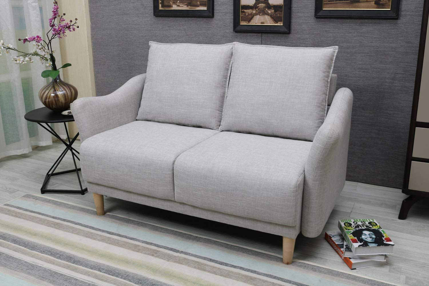 Remarkable Best Living Furniture Modern Sofa 2 Seater Love Seat With With Terylene Velvet Fabric Beige Bralicious Painted Fabric Chair Ideas Braliciousco