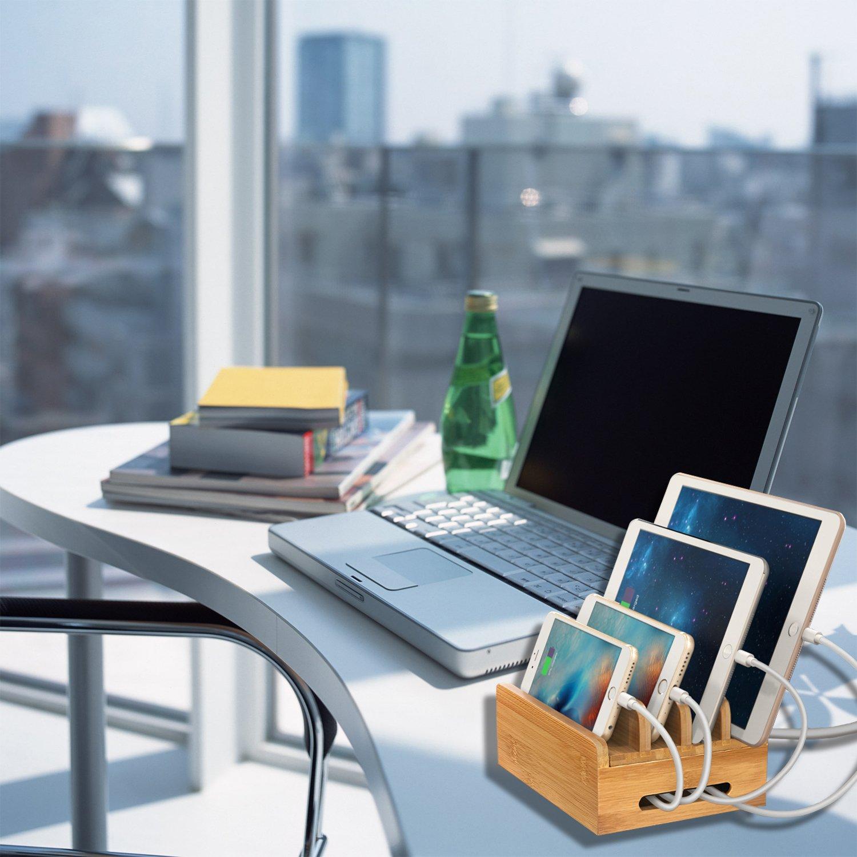 MaxTronic Bambus Organizer USB Ladedock Desktop St/änder Multi Ger/äte Organiser Ladestations Halter mit Einfache Kabelaufbewahrung und Magnetische Funktion USB Ladeger/ät dachtes Design Schnelle Direkt Aufladen f/ür Smart USB Ladestation