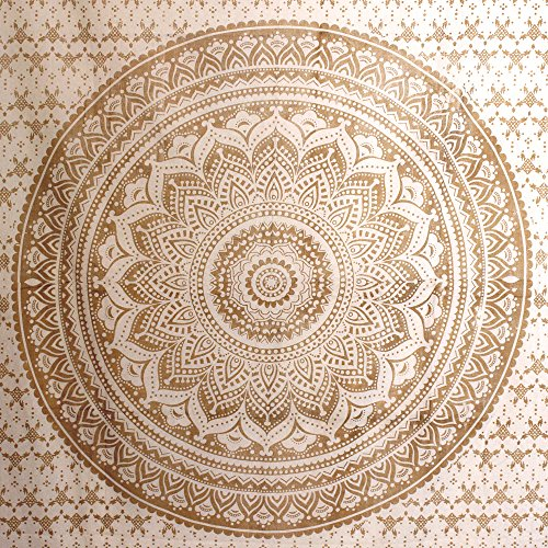 - Stylo Culture Gold Mandala Tapestry Single Cotton Printed Wall Hanging Dorm Decor Bedsheet, Throw, Room Divider, Bed Sheet, Wall Decoration