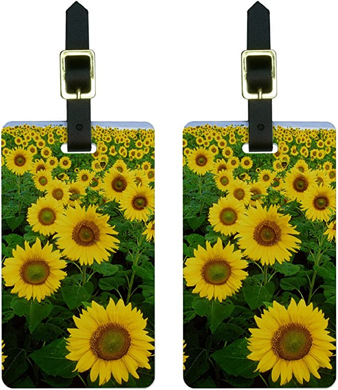 Durable luggage tag Sunflower Decor Collection Sunflowers and Corn Pattern Agriculture Cultivating Nature Art Close Up Design Print Unisex Soft Green Yellow W2.7 x L4.6