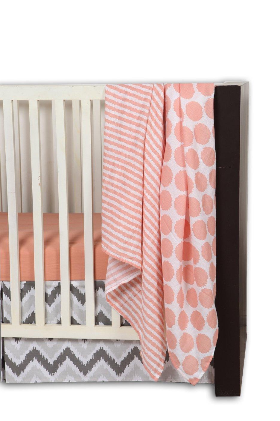 Bacati Ikat Chevron 10 Piece Crib Set with Bumper Pad, Coral/Grey by Bacati (Image #3)