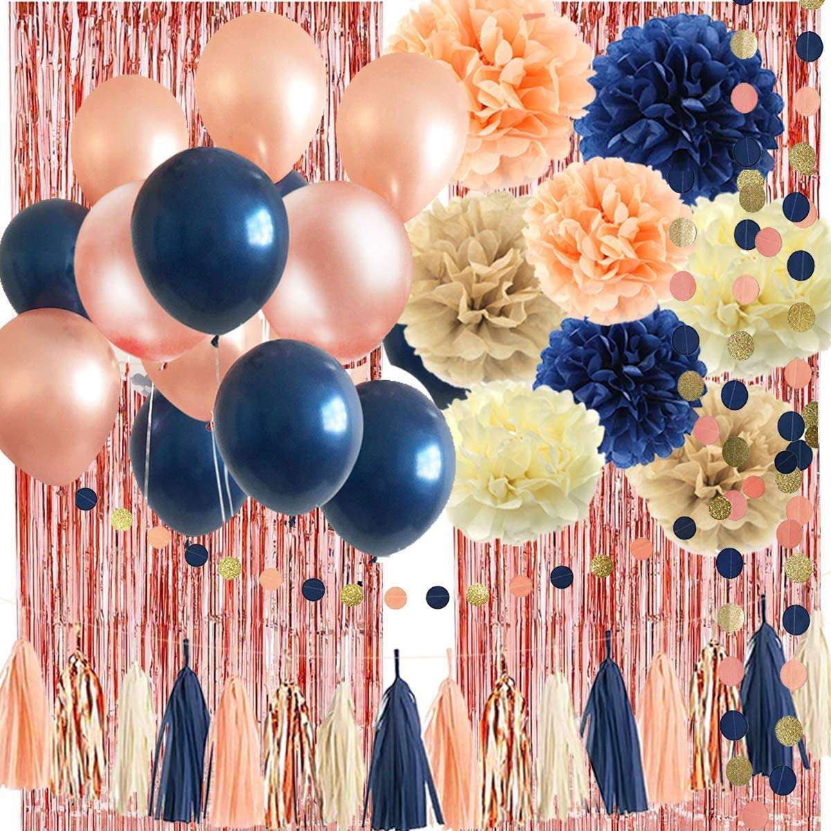 32 Pack Navy Blue Rose Gold Party Decoration Kit - Navy Rose Gold Balloons, Curtains, Paper Flowers,Tassel and Garland for Bridal Shower, Baby Shower, Gender Reveal, Graduation, Rose Gold Bachelorette Party Decorations: Toys & Games