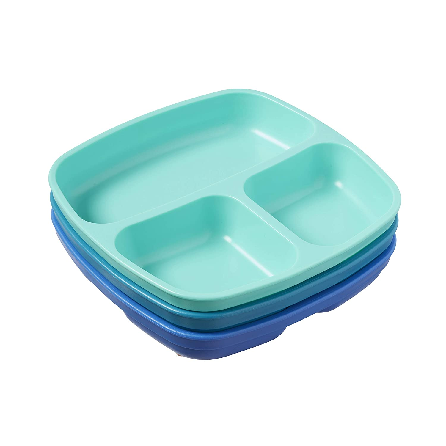 Tropical ECR4Kids My First Meal Pal Divided Plates Stackable Plates for Baby Dishwasher Safe Toddler and Child Feeding 3-Pack BPA-Free