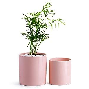 POTEY Ceramic Planter Flower Plant Pot