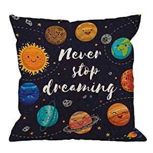 HGOD DESIGNS Outer Space Pillow Case, Cute Planets and Star Cluster Solar System Moon and Comets Sun Cosmos Cotton Linen Cushion Cover Square Standard Home Decorative Throw Pillow 18x18 inch Darkblue