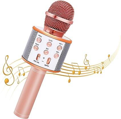 Bearbro Micrófono Inalámbrico Bluetooth,Micrófono Karaoke Bluetooth Portátil con Función Selfie para Niños Canta Partido Musica, Compatible con Android/iOS PC, AUX o Teléfono Inteligente (oro rosa): Amazon.es: Instrumentos musicales