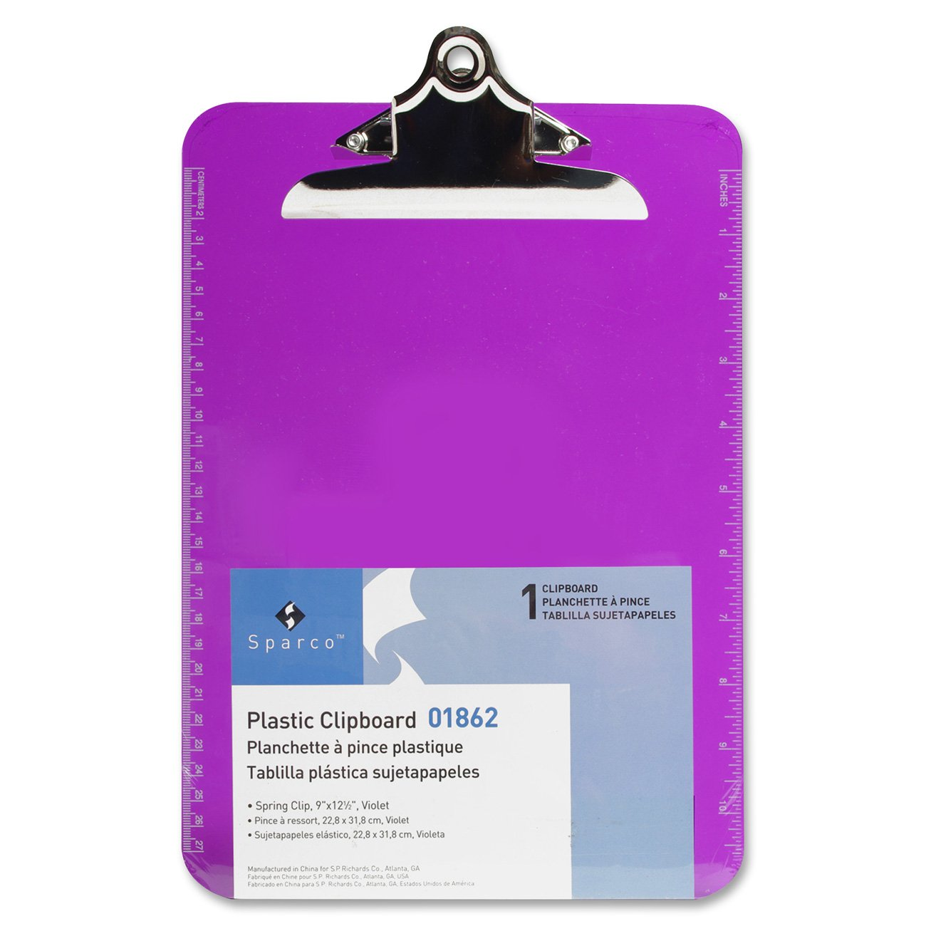 S.P. Richards Company Transparent Plastic Clipboard, 9 x 12-1/2 Inches, Violet (SPR01862)