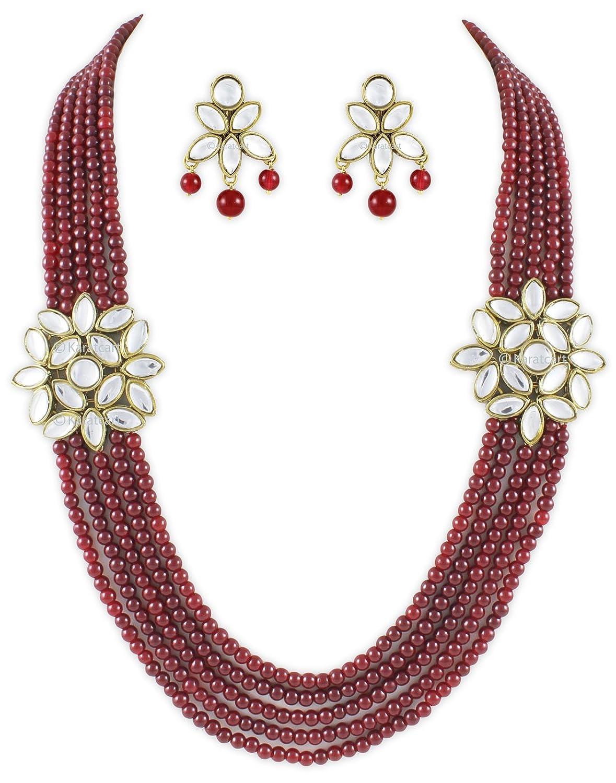 Buy Karatcart Red 5 Line Mullti Strand Kundan Necklace For Women ...