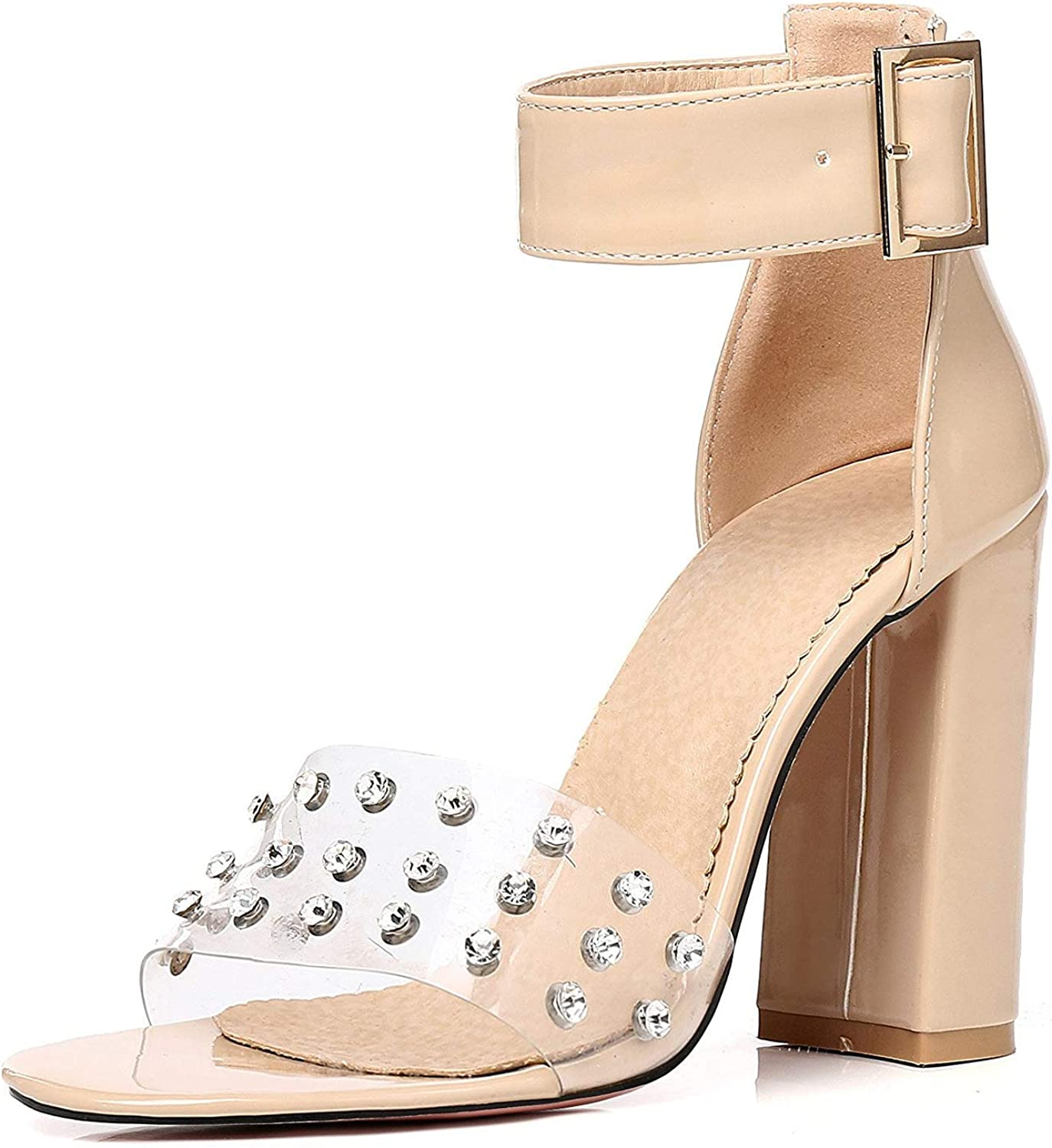 Unm Womens Open Toe Sandals with Studs Clear Jelly High Heel Buckled Ankle Strap Stacked