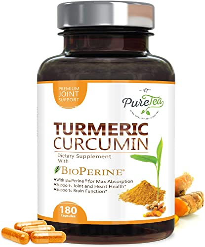 Turmeric Curcumin 95 High Potency Curcuminoids 1950mg with Bioperine Black Pepper for Best Absorption, Made in USA, Best Vegan Joint Support, Turmeric Pills by PureTea – 180 Capsules