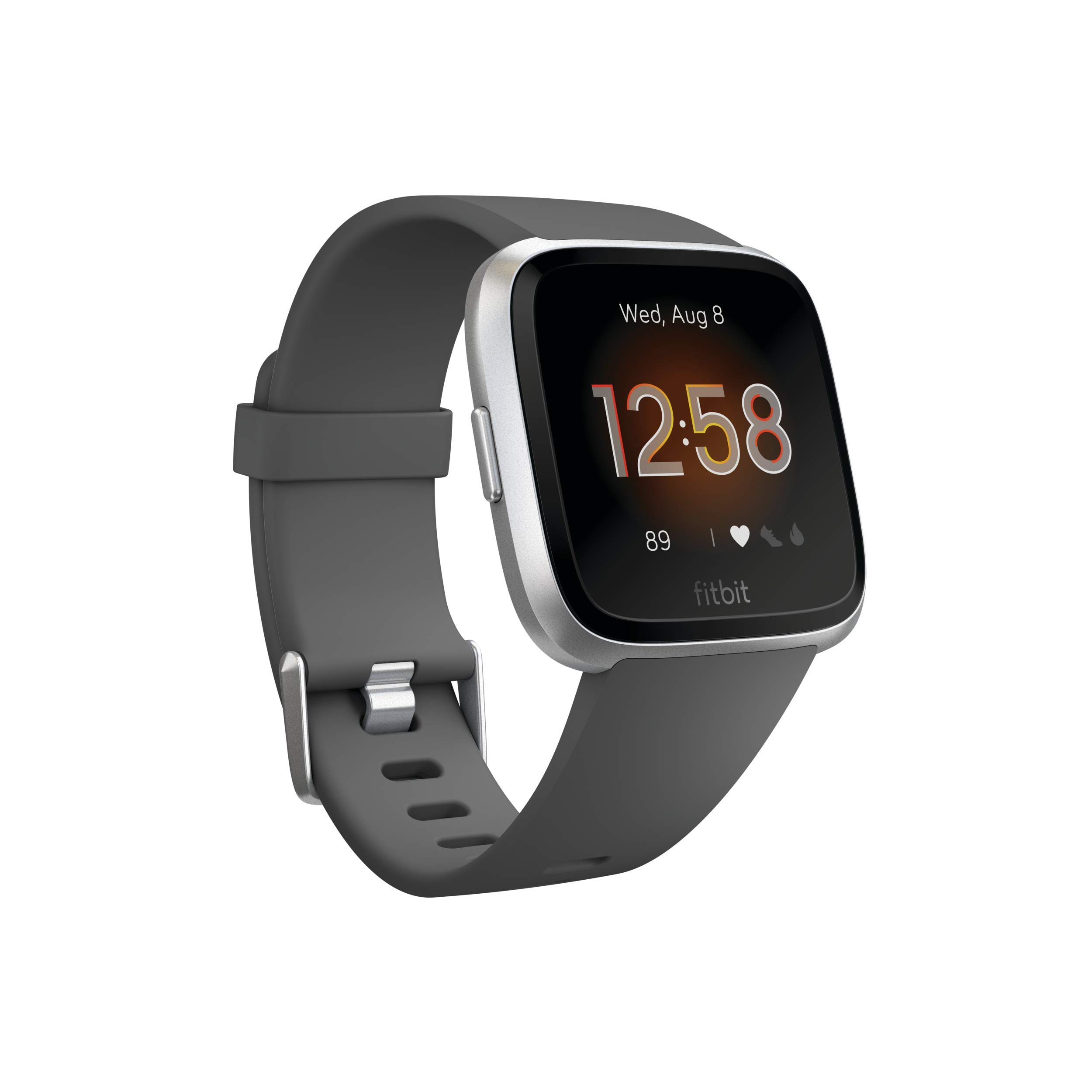Fitbit Versa Lite Smartwatch, Charcoal/Silver Aluminum, One Size (S & L Bands Included) by Fitbit