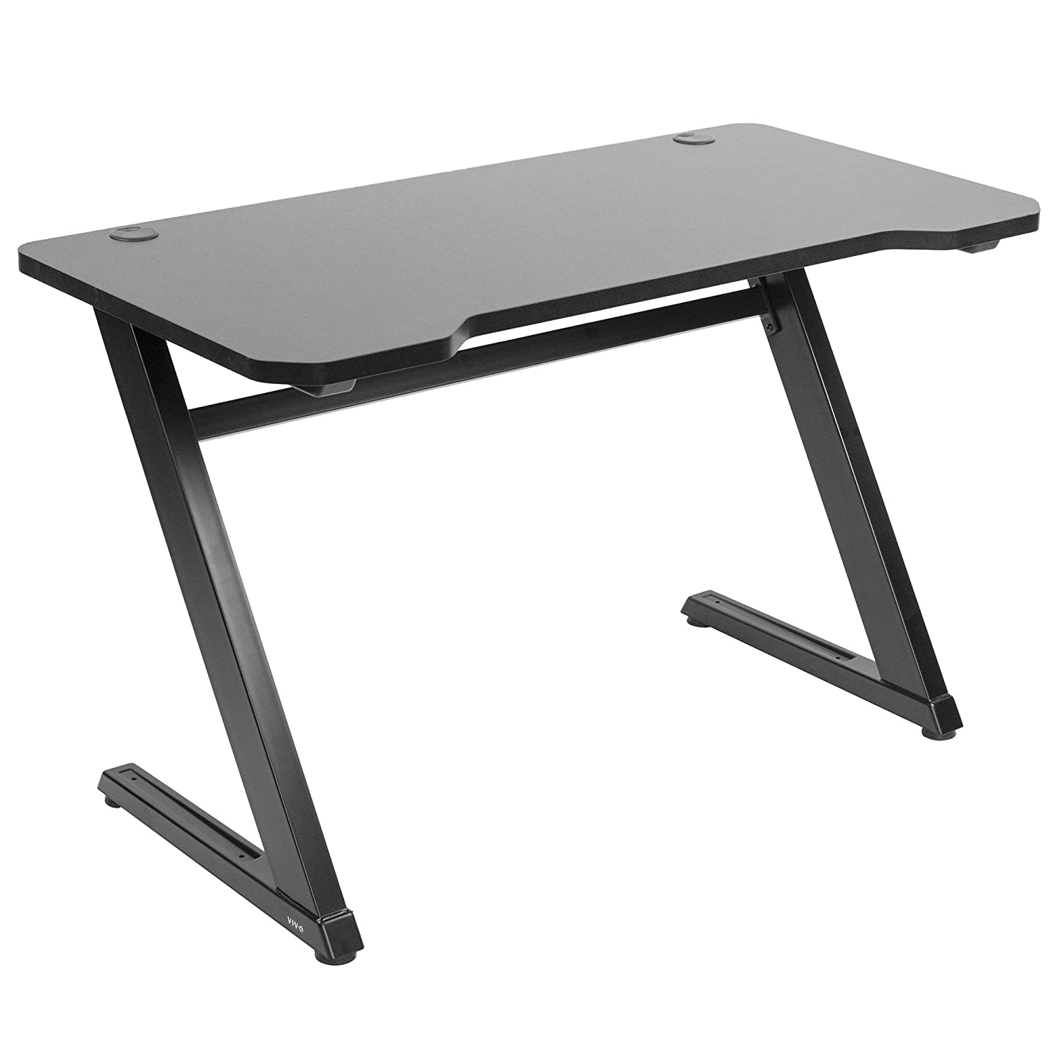 VIVO Black 47 inch Gaming Desk Table with Z-Shaped Frame Home Office Computer Workstation with Curved Tabletop and Steel Legs DESK-GM1ZB