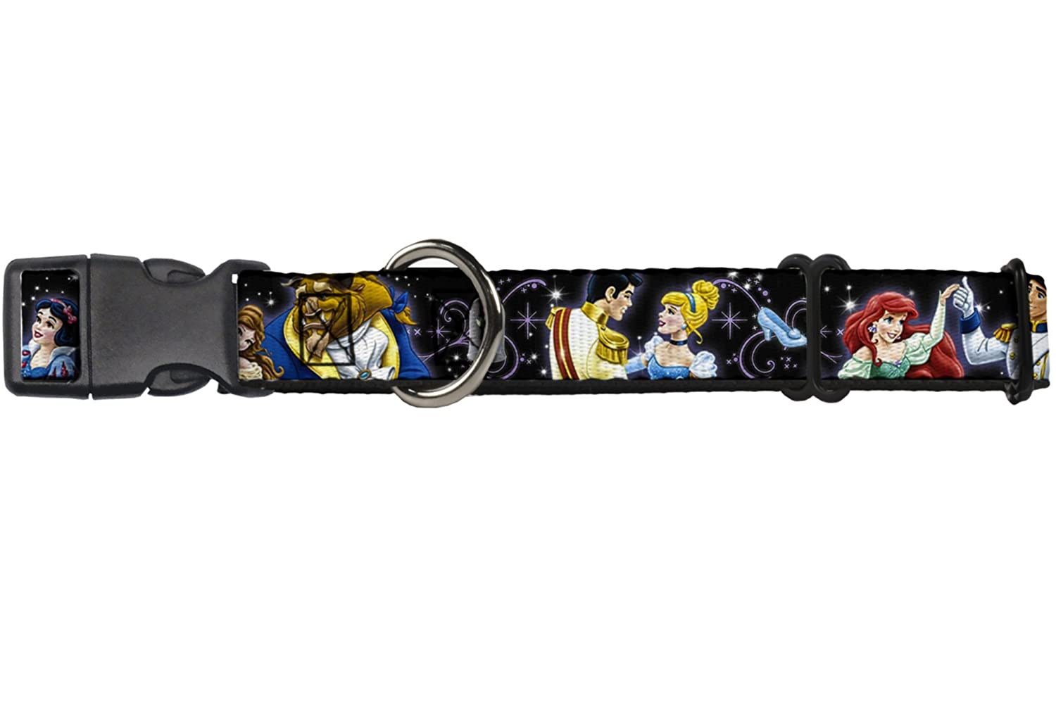 Buckle-Down Martingale Dog Collar Disney Princesses & Prince's Dancing 1  Wide Fits 9-15  Neck Size Small
