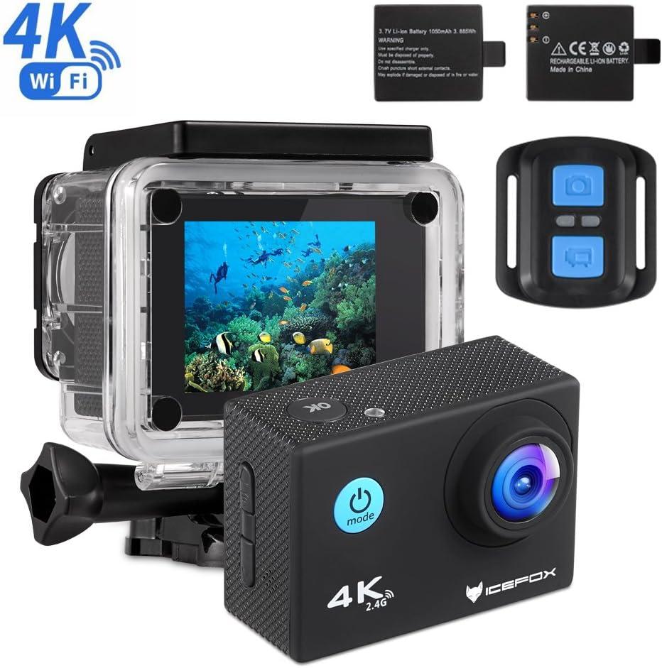 Action Cam 4k Icefox Unterwasser 30m Sport Action Kamera Mit 2 Wiederaufladbaren Akku Wifi Fernbedienung 2 0 Display 1080p Hd Aufnahme Für Tauchen Motorrad Surfen Bootfahren Und Skifahren Sport Freizeit