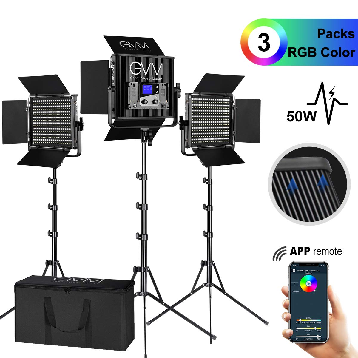 GVM 3 Pieces RGB Video Lighs Kit with APP Control CRI97 Variety Color and Brightness Dimmable 2000K-5600K LED Photography Lighting kit with Stand for YouTube Studio Photography Camera Video Lighting by GVM Great Video Maker
