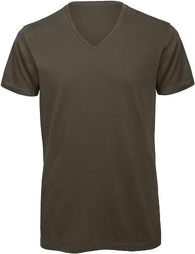 B&C - Camiseta cuello pico V Algodón orgánico Modelo Favourite hombre caballero: Amazon.es: Ropa y accesorios