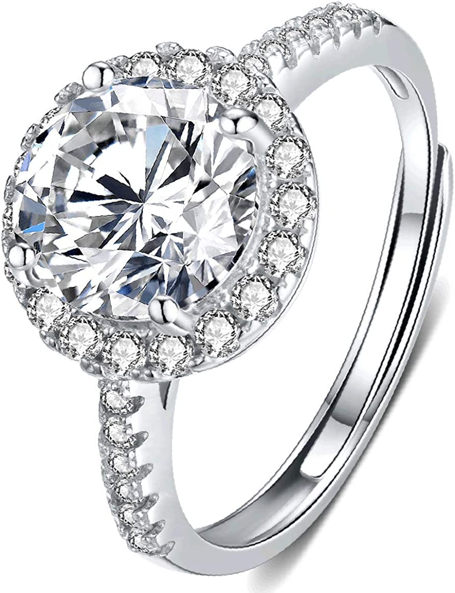 Promise Ring,WeddingRing 1ct Halo Moissanite Silver Ring with Circle Diamond Matching Band,Engagement or Anniversary Ring Gift for her