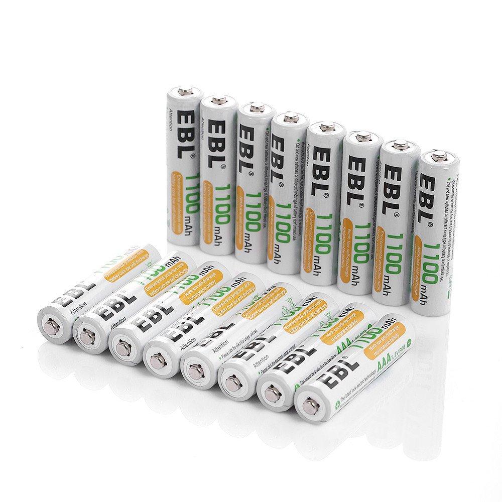 EBL 16er Pack 1100mAh hohe Kapazität AAA Micro NiMh Akku wiederaufladbare Akkus 1200 Ladezyklen geringe Selbstentladung