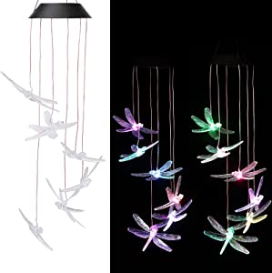 CAMMILE Solar Wind Chimes Outdoor Rainproof Changing Colors String Light Wind Chimes Hummingbird Yard Decorations Solar Light Mobile Yard Garden Patio Home Party Festival Decorative Light(Dragonfly)