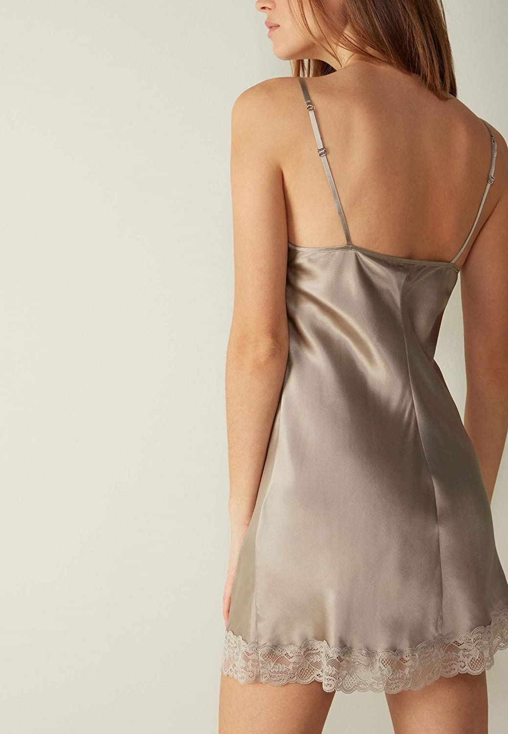 Intimissimi Womens Silk Slip with Lace Insert Detail