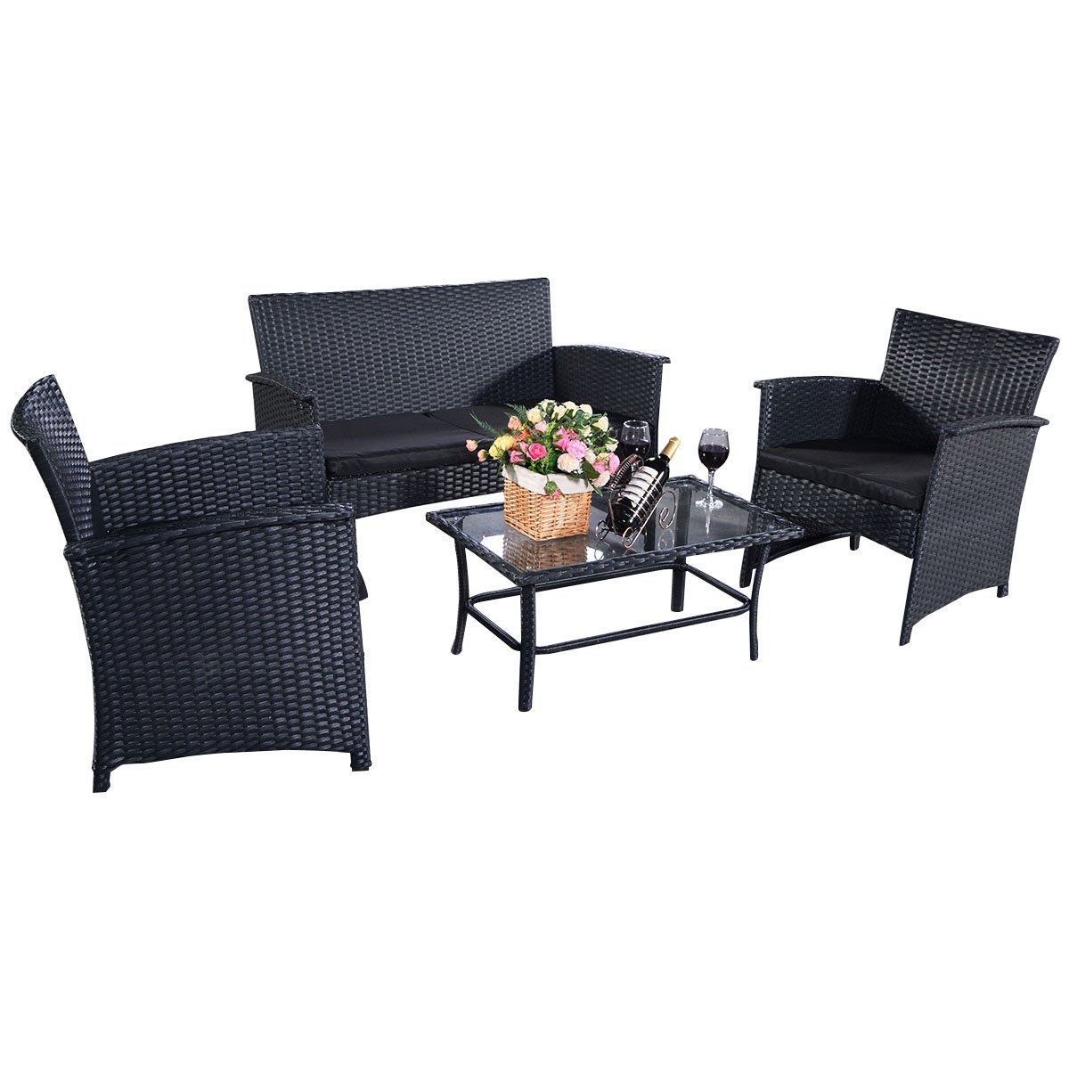 4tlg poly ratten gartengarnitur gartenm bel rattanm bel lounge sitzgruppe sofa garten set mit. Black Bedroom Furniture Sets. Home Design Ideas