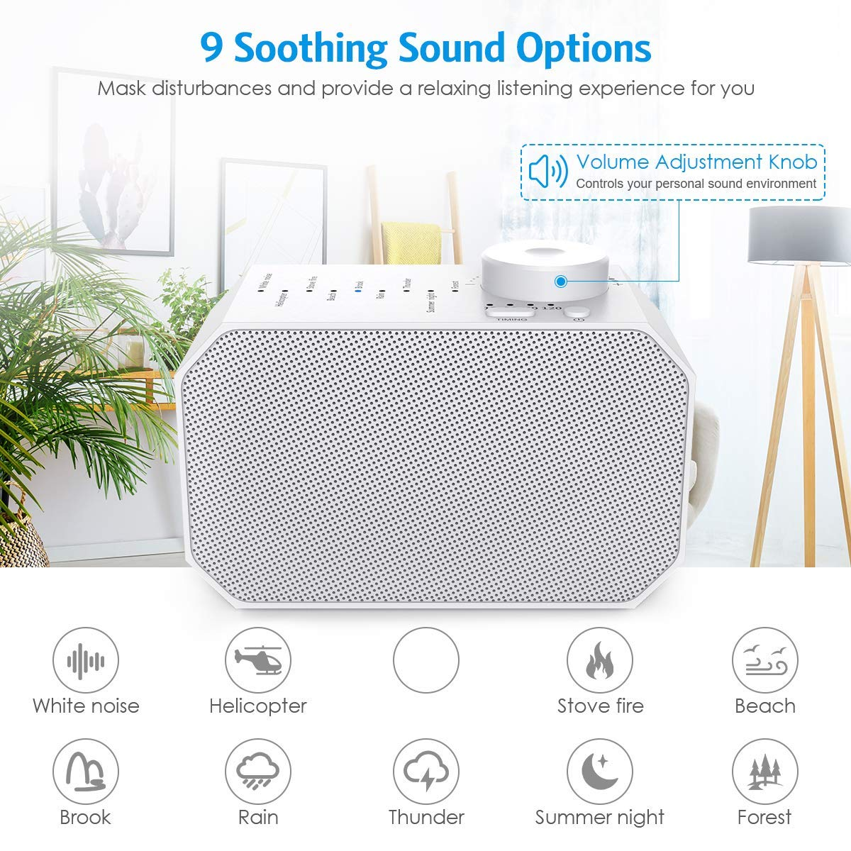 Criacr White Noise Machine, 9 Non-Looping Soothing Sounds Sleep Sound Machine, with Auto-Off Timer Sleeping Sound Therapy for Baby Adult Traveler, Portable for Home Office Travel