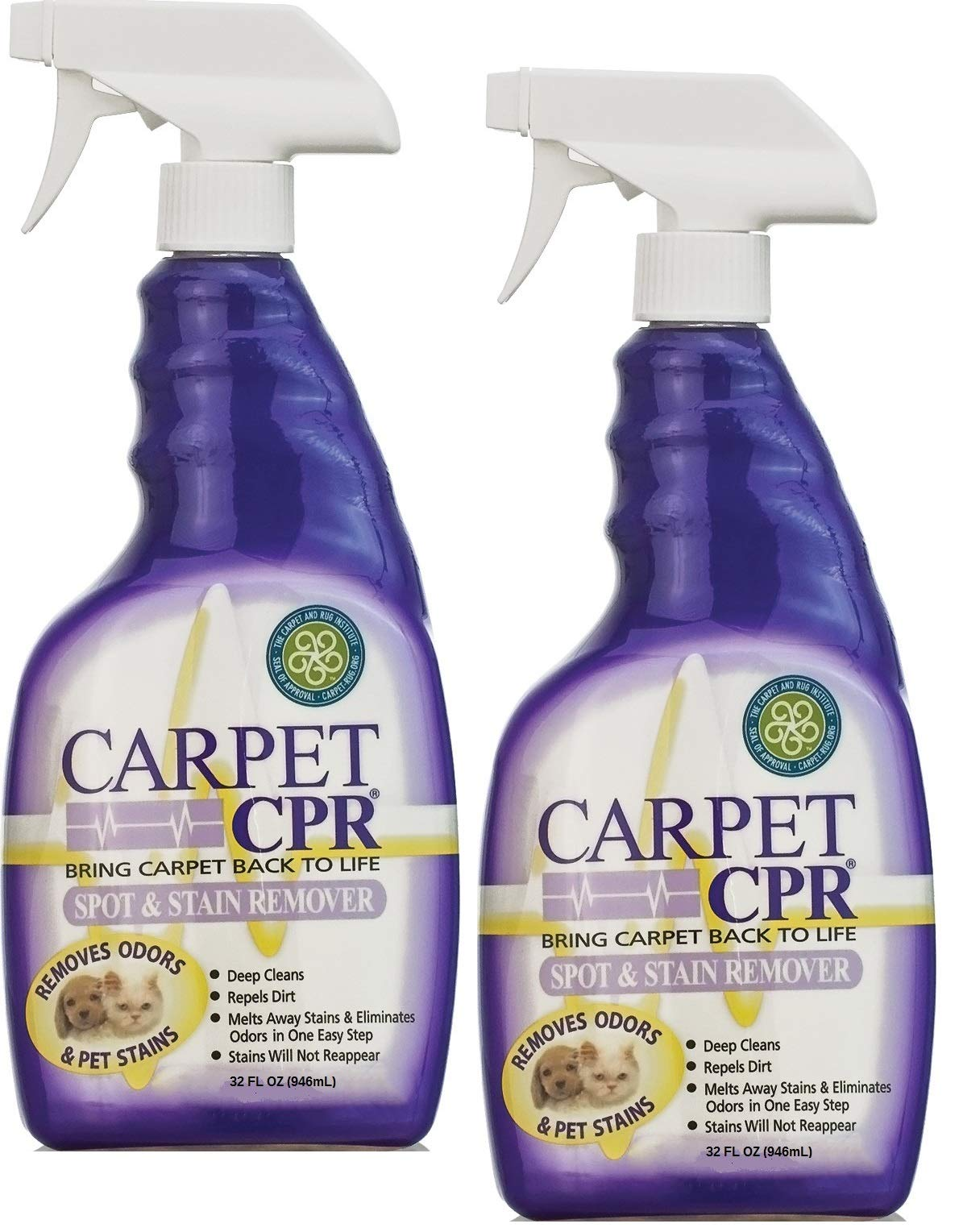 Carpet CPR (2PK / 32oz Bottles) - Spot Treatment & Dirt Repellent for High Traffic Areas and Your Toughest Stains - Treats Spots, Deep Cleans & Repels Dirt in Minutes  by CPR
