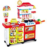 Qm-h Pretend Play Simulation Fast Food Shop Checkout Counter Playsets with Lights, Sound and Accessories Red 6663E(LHW=33.9x34.3x14.2Inches)