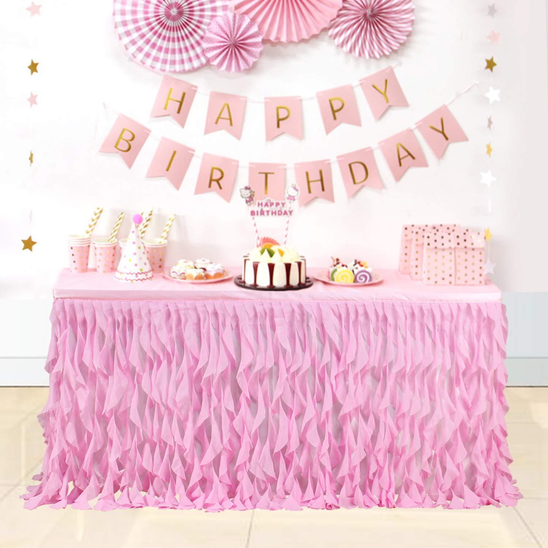 Nssonben Tassel Table Skirt Blue Table Cover Skirting For Festive Baby Shower Party Wedding Birthday /& Home Decor 6ft