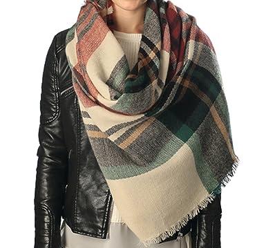 plaid blanket scarf tartan plaid scarfchristmas present beige - Christmas Plaid Scarf
