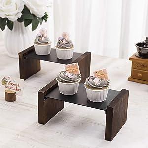MyGift Rustic Dark Brown Burnt Wood & Matte Black Metal Cupcake '/ Dessert Retail Display Risers, Set of 2