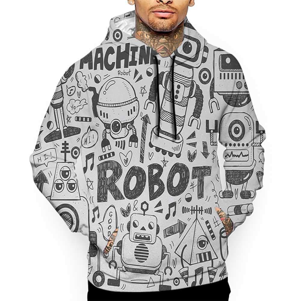 hot Hoodies Sweatshirt Men 3D Print Robot, Futuristic Space Doodle ...