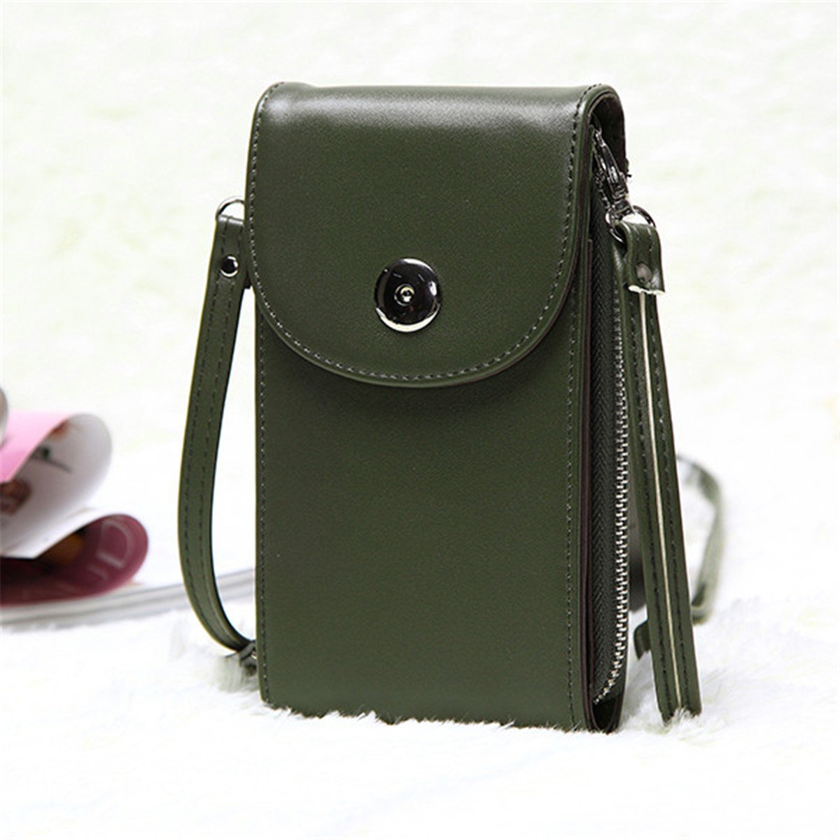 300eaa5cc3 AASSDDFF Diseño Bolsos de las mujeres Coreano Mini Bolsa de Bolsas  Celulares Simple Pequeño Bolso Crossbody Casual Ladies Flap Bolso de Hombro  Verde, ...