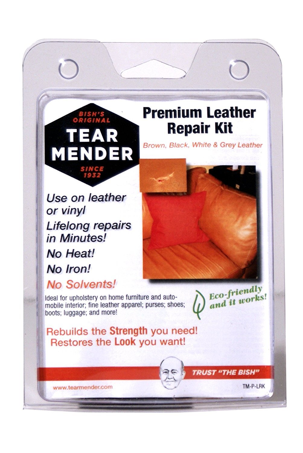 Tear Mender Leather Repair Kit with Patches and Color Refinish Compound, 2 oz. Bottle, 6 Pack,  TM-P-LRK-C6 by Tear Mender