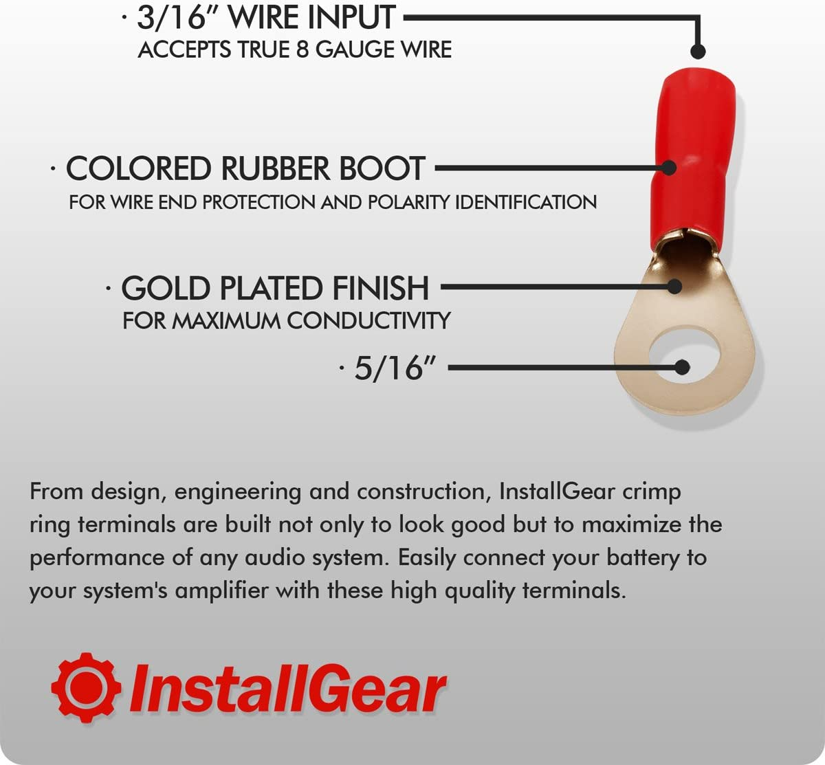 InstallGear 1//0 Gauge Tinned Pure Copper Set Screw Ring Terminals 4-Pack
