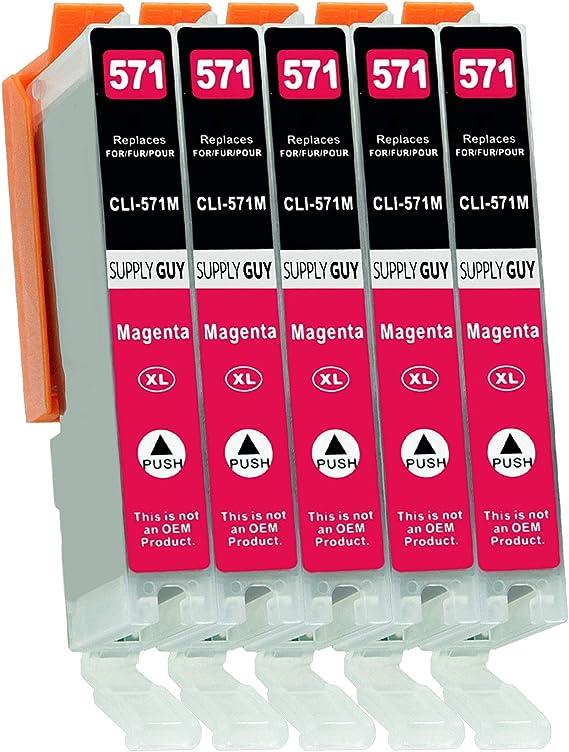 Imagen de5 Cartuchos de Tinta con viruta Compatible con Canon CLI-571 Magenta para Pixma MG-5750 MG-5751 MG-6850 MG-7750 TS-5050 TS-5055 TS-6050 TS-8050 TS-9050 TS-9055 y más (Ver página del Producto)