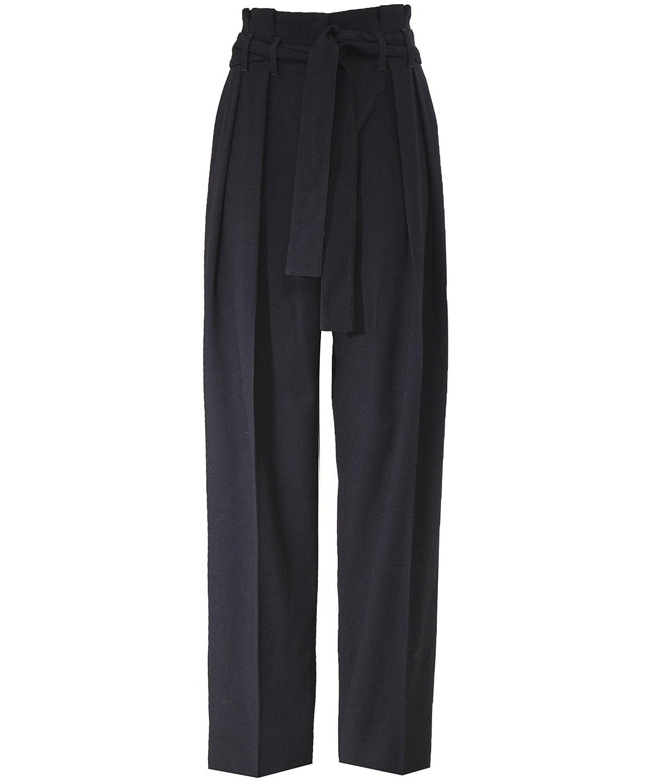 Black Victoria Victoria Beckham Women's Front Pleat Tie Trousers Black