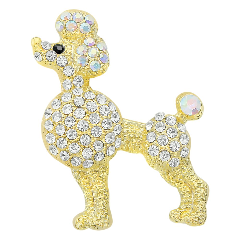 DMI Unique Jewelry Gold-Color Rhinestone Cute Poodle Animal Brooch Pin